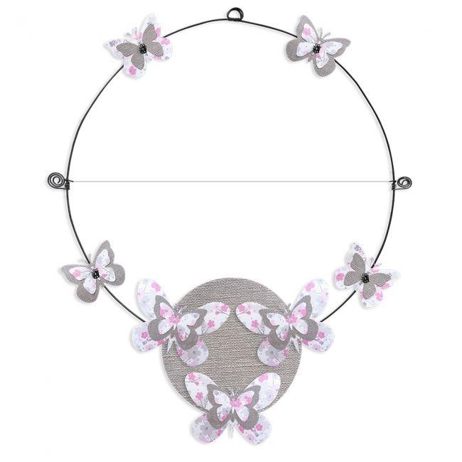 """Message coloré """" Papillon - Rose : Personnalisable 1 ligne """" en fil de fer - à punaiser - environ 37 x 46 cm - Bijoux de mur"""