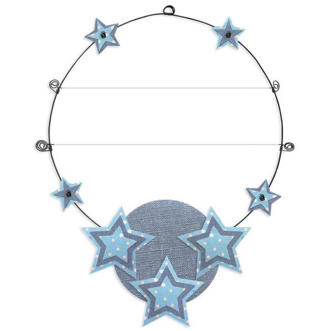 """Message coloré """" Étoile - Bleu : Personnalisable 2 lignes """" en fil de fer - à punaiser - environ 37 x 47 cm - Bijoux de mur"""
