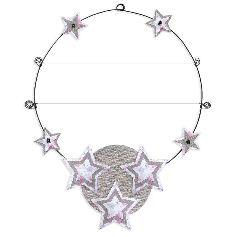 """Message coloré """" Étoile - Rose : Personnalisable 2 lignes """" en fil de fer - à punaiser - environ 37 x 47 cm - Bijoux de mur"""