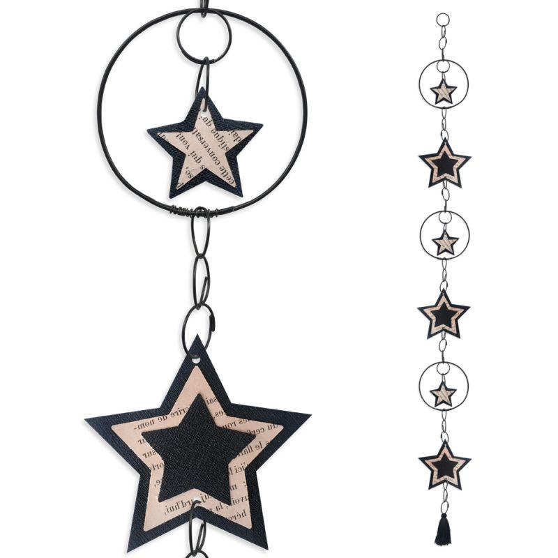 """Guirlande colorée """" Etoile - Noir """" en fil de fer - à suspendre - environ 94 x 9 cm - Bijoux de mur"""