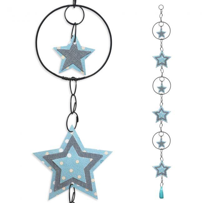 """Guirlande colorée """" Etoile - Bleu """" en fil de fer - à suspendre - environ 94 x 9 cm - Bijoux de mur"""