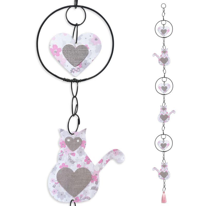"""Guirlande colorée """" Chat - Rose """" en fil de fer - à suspendre - environ 105 x 11 cm - Bijoux de mur"""