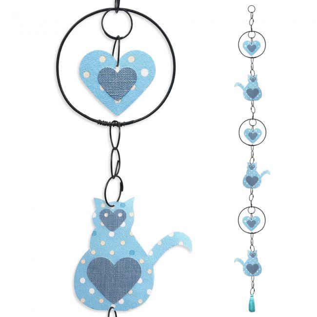 """Guirlande colorée """" Chat - Bleu """" en fil de fer - à suspendre - environ 105 x 11 cm - Bijoux de mur"""