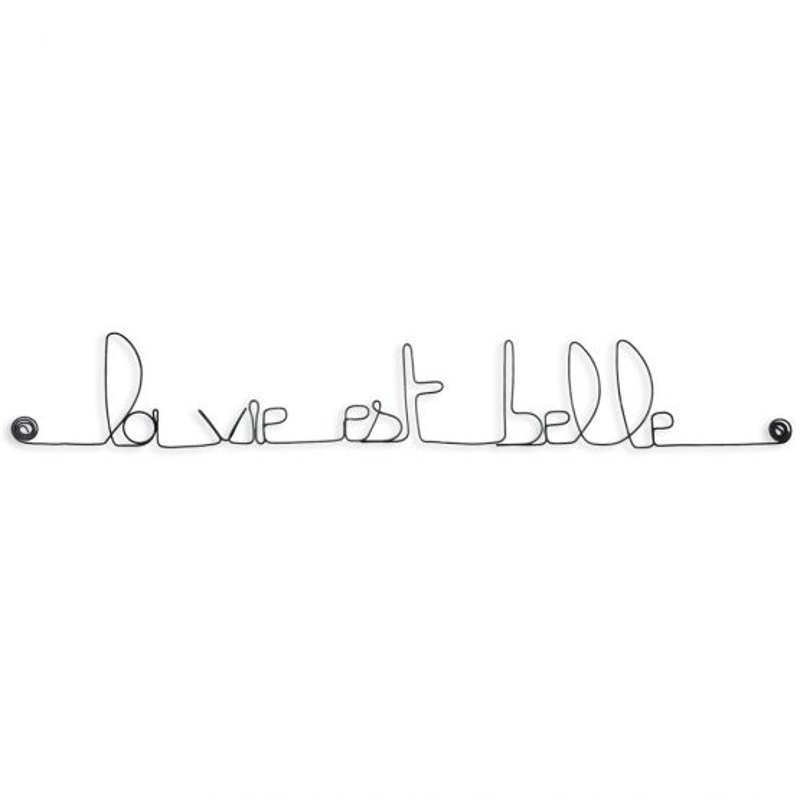 """"""" La vie est belle """" - Message mural décoratif en fil de fer - Bijoux de mur"""