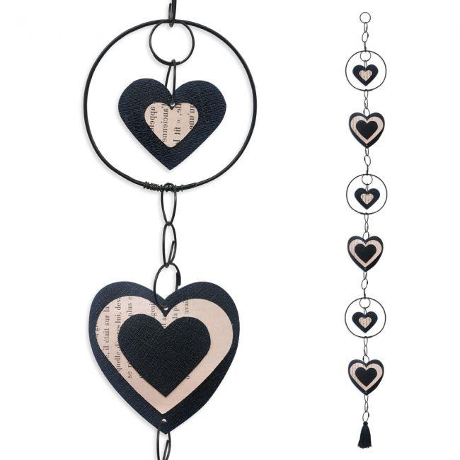 """Guirlande colorée """" Coeur - Noir """" en fil de fer - à suspendre - environ 95 x 9 cm - Bijoux de mur"""