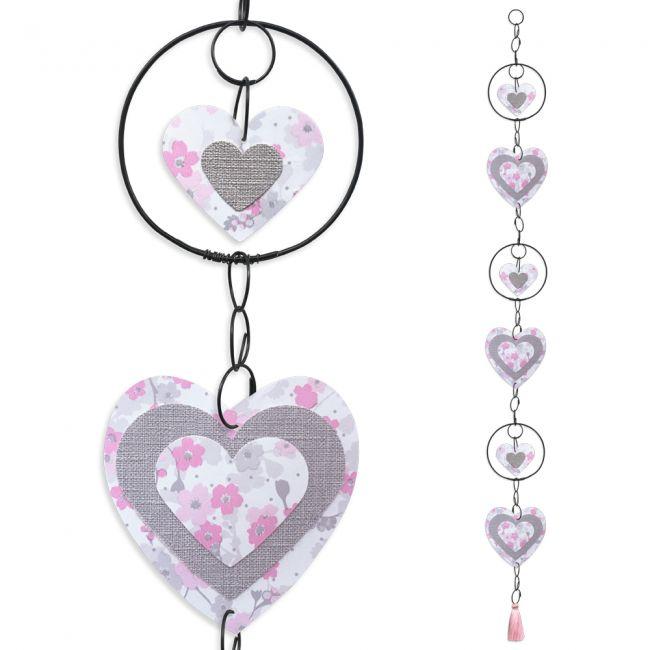 """Guirlande colorée """" Coeur - Rose """" en fil de fer - à suspendre - environ 95 x 9 cm - Bijoux de mur"""