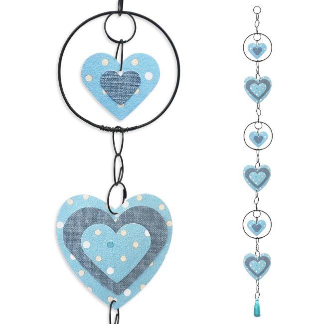 """Guirlande colorée """" Coeur - Bleu """" en fil de fer - à suspendre - environ 95 x 9 cm - Bijoux de mur"""