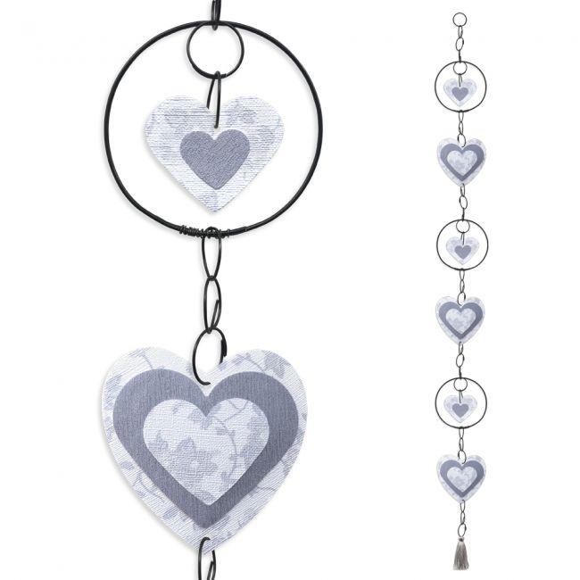 """Guirlande colorée """" Coeur - Blanc """" en fil de fer - à suspendre - environ 95 x 9 cm - Bijoux de mur"""