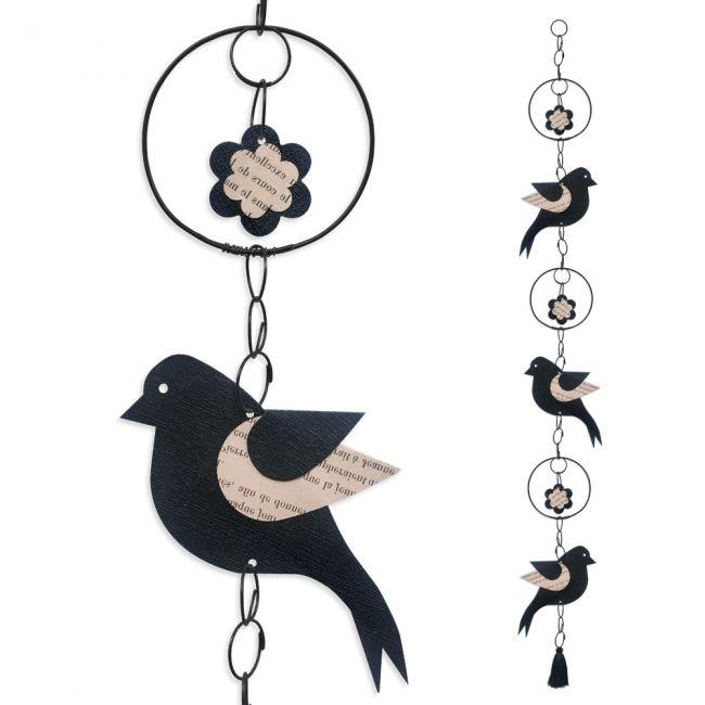 """Guirlande colorée """" Oiseau - Noir """" en fil de fer - à suspendre - environ 95 x 12 cm - Bijoux de mur"""