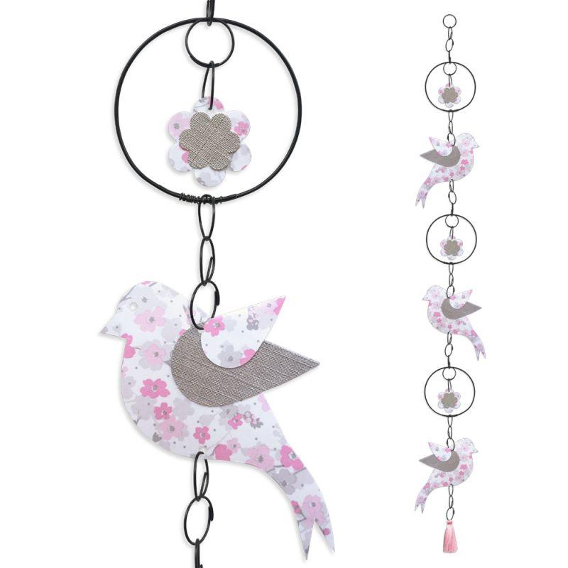 """Guirlande colorée """" Oiseau - Rose """" en fil de fer - à suspendre - environ 95 x 12 cm - Bijoux de mur"""