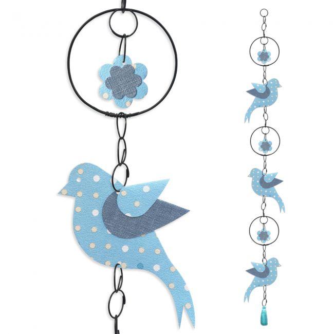"""Guirlande colorée """" Oiseau - Bleu """" en fil de fer - à suspendre - environ 95 x 12 cm - Bijoux de mur"""