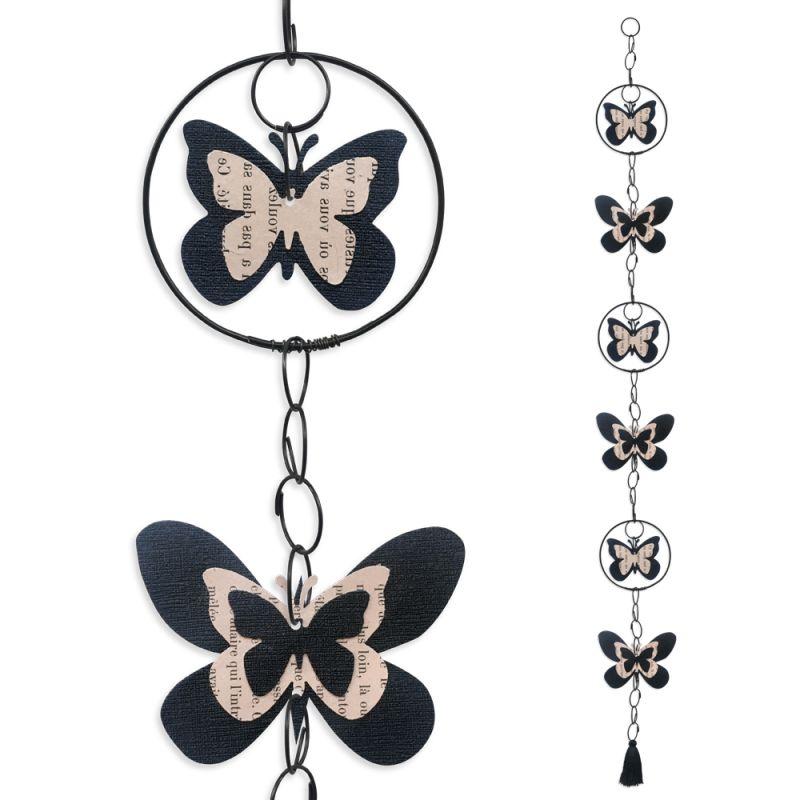 """Guirlande colorée """" Papillon - Noir """" en fil de fer - à suspendre - environ 96 x 9,5 cm - Bijoux de mur"""