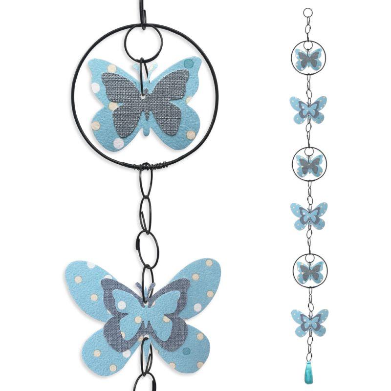 """Guirlande colorée """" Papillon - Bleu """" en fil de fer - à suspendre - environ 96 x 9,5 cm - Bijoux de mur"""