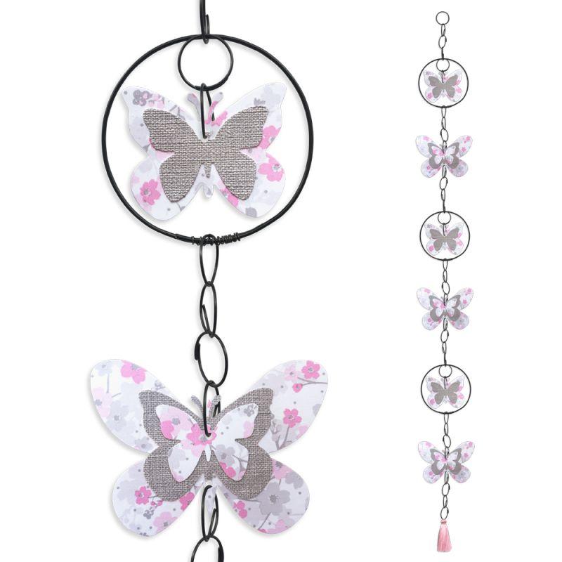 """Guirlande colorée """" Papillon - Rose """" en fil de fer - à suspendre - environ 96 x 9,5 cm - Bijoux de mur"""