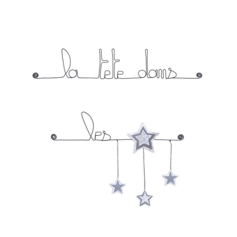 """Citation colorée """" Étoile - Blanc : La tête dans les étoiles """" en fil de fer - à punaiser - Bijoux de mur"""