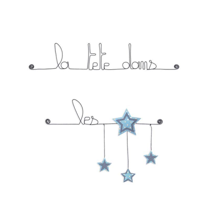 """Citation colorée """" Étoile - Bleu : La tête dans les étoiles """" en fil de fer - à punaiser - Bijoux de mur"""