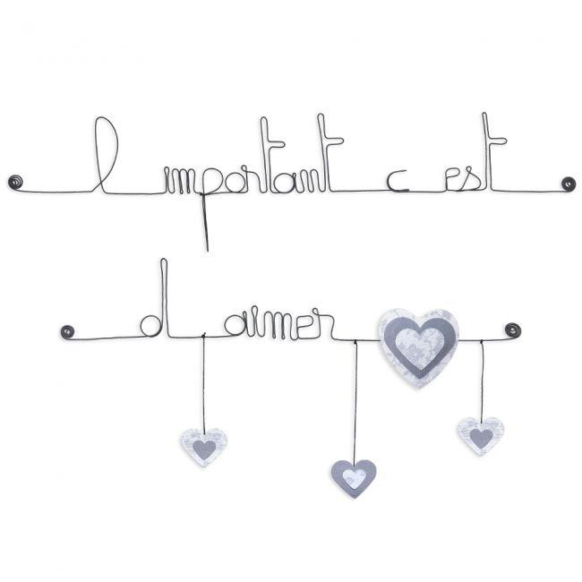 """Citation colorée """" Coeur - Blanc : L'important c'est d'aimer """" en fil de fer - à punaiser - Bijoux de mur"""