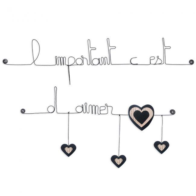 """Citation colorée """" Coeur - Noir : L'important c'est d'aimer """" en fil de fer - à punaiser - Bijoux de mur"""
