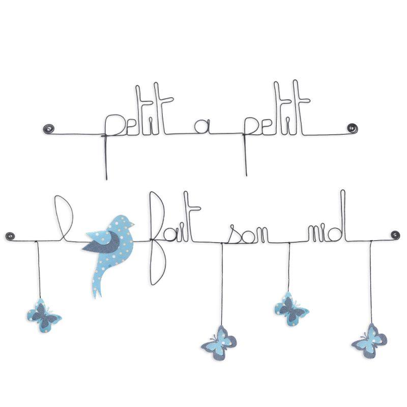 """Citation colorée """" Oiseau - Bleu : Petit à petit l'oiseau fait son nid """" en fil de fer - à punaiser - Bijoux de mur"""