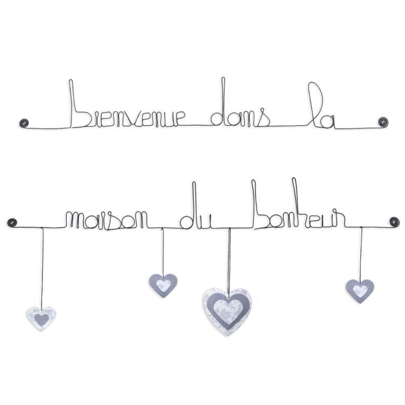 """Citation colorée """" Coeur - Blanc : Bienvenue dans la maison du bonheur """" en fil de fer - à punaiser - Bijoux de mur"""