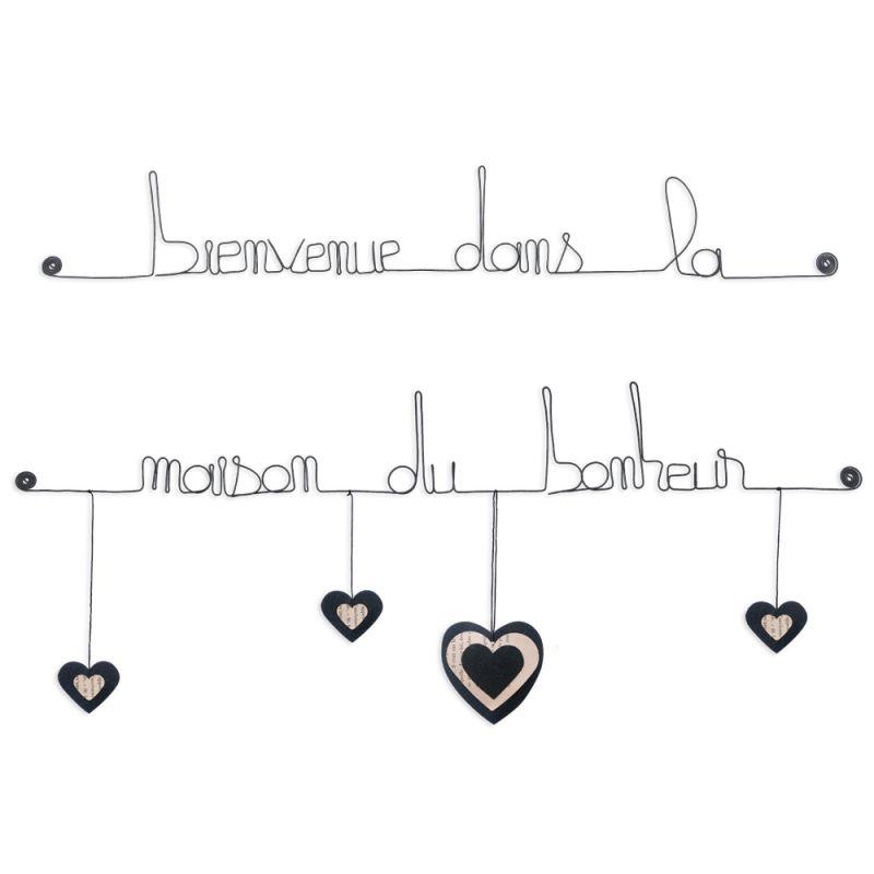 """Citation colorée """" Coeur - Noir : Bienvenue dans la maison du bonheur """" en fil de fer - à punaiser - Bijoux de mur"""