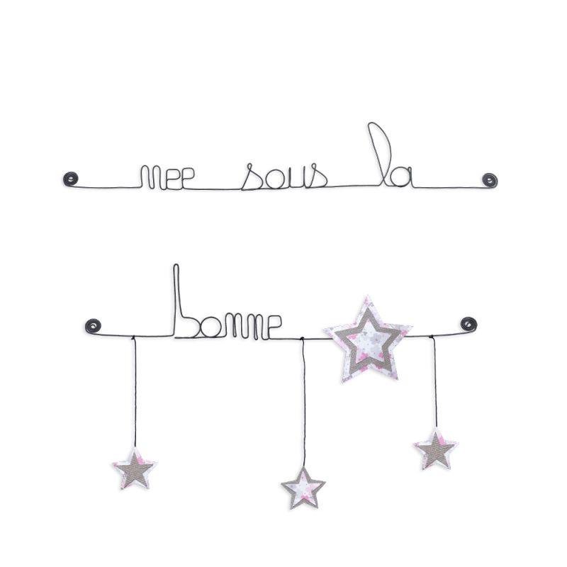 """Citation colorée """" Étoile - RoseNée sous une bonne étoile """" en fil de fer - à punaiser - Bijoux de mur"""
