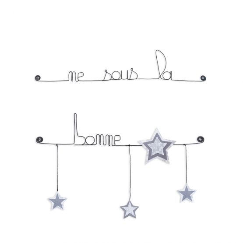 """Citation colorée """" Étoile - Blanc : Né sous une bonne étoile """" en fil de fer - à punaiser - Bijoux de mur"""