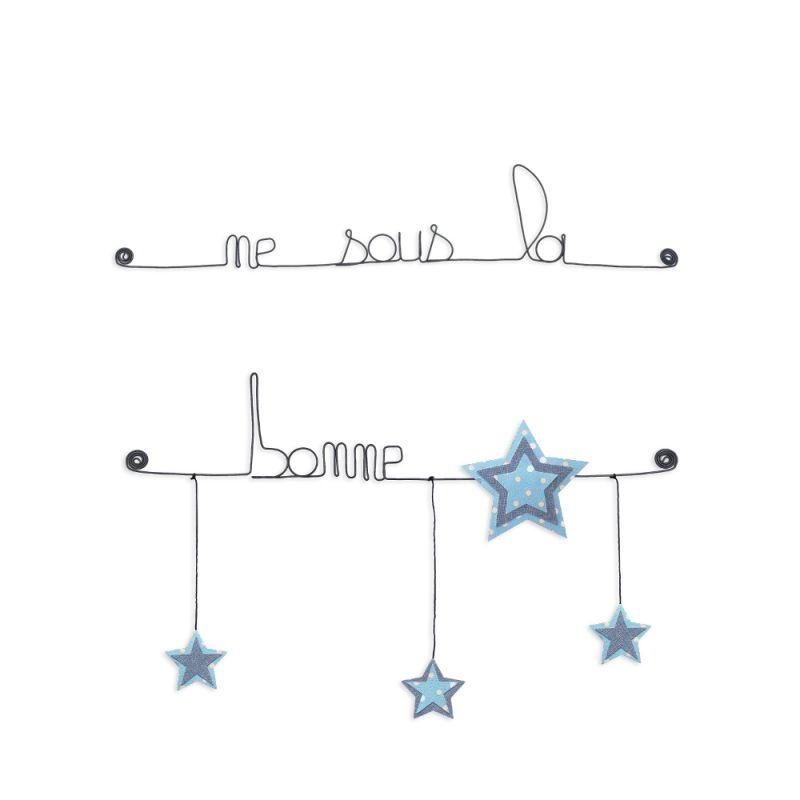 """Citation colorée """" Étoile - Bleu : Né sous une bonne étoile """" en fil de fer - à punaiser - Bijoux de mur"""