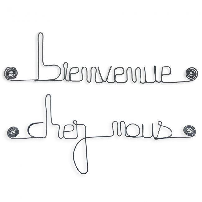 """"""" Bienvenue chez notre chien """" - Message mural décoratif en fil de fer - Bijoux de mur"""