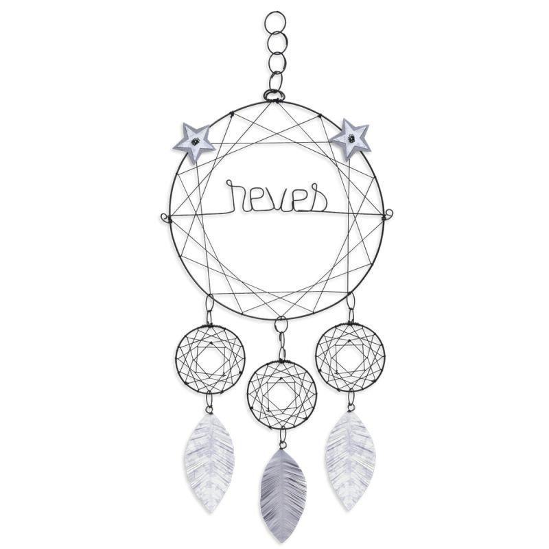 """Attrape-rêves coloré """" Blanc : Rêves """" en fil de fer - à suspendre - environ 28 x 65 cm - Bijoux de mur"""