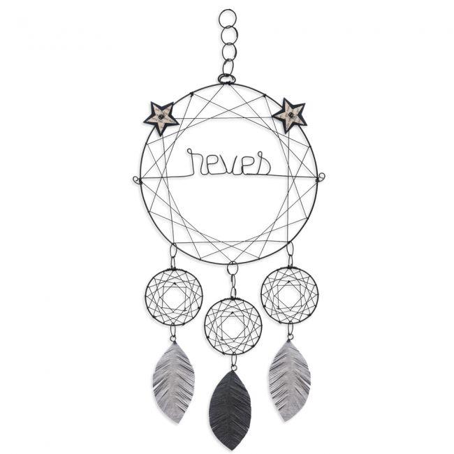 """Attrape-rêves coloré """" Noir : Rêves """" en fil de fer - à suspendre - environ 28 x 65 cm - Bijoux de mur"""