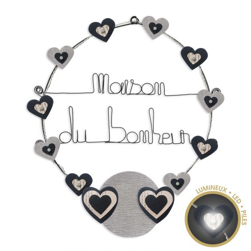 """Message lumineux """" Coeur - Noir : Maison du bonheur """" en fil de fer - à punaiser - environ 40 x 45 cm - Bijoux de mur"""