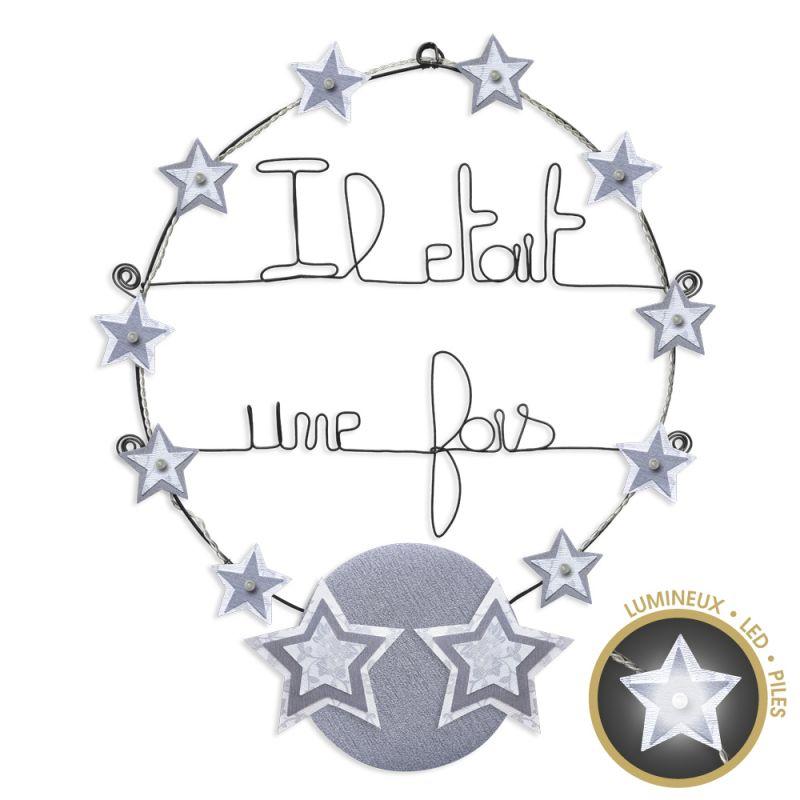 """Message lumineux """" Étoile - Blanc : Il était une fois """" en fil de fer - à punaiser - environ 40 x 45 cm - Bijoux de mur"""