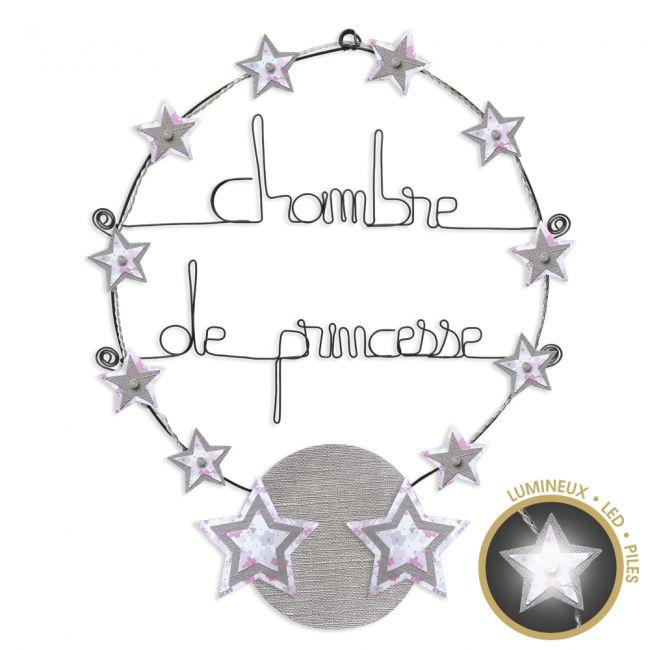"""Message lumineux """" Étoile - Rose : Chambre de princesse """" en fil de fer - à punaiser - environ 40 x 45 cm - Bijoux de mur"""