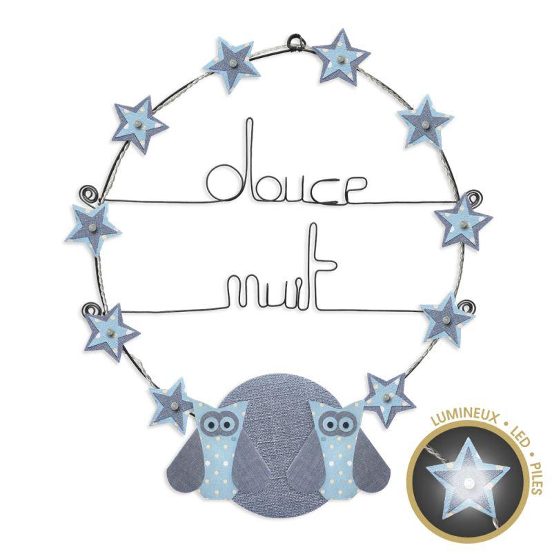 """Message lumineux """" Chouette - Bleu : Douce nuit """" en fil de fer - à punaiser - environ 40 x 45 cm - Bijoux de mur"""