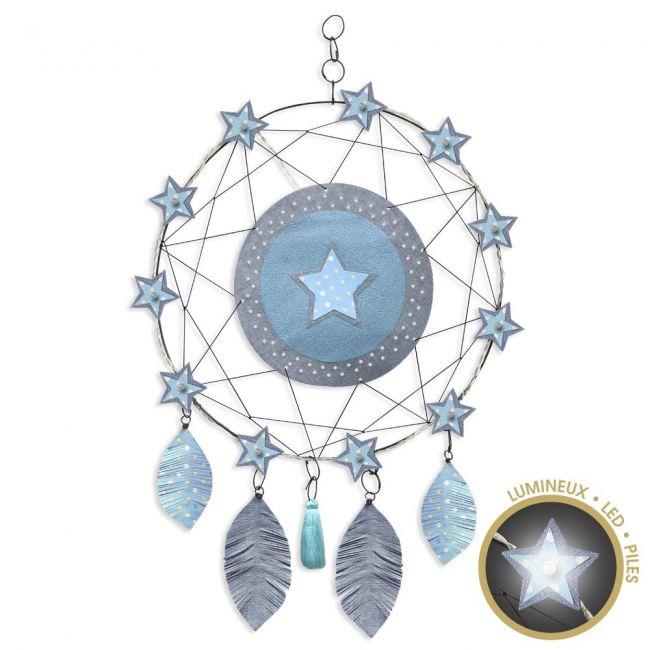 """Attrape-rêves lumineux """" Étoile - Bleu"""" en fil de fer - à suspendre - environ 38 x 64 cm - Bijoux de mur"""
