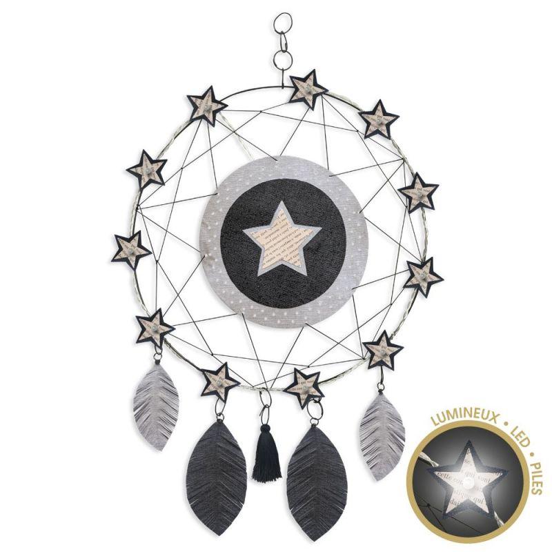 """Attrape-rêves lumineux """" Étoile - Noir """" en fil de fer - à suspendre - environ 38 x 64 cm - Bijoux de mur"""