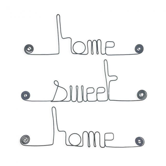 """ Home sweet home "" - Message mural décoratif en fil de fer - Bijoux de mur"