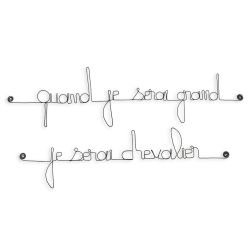 "Citation simple "" Quand je serai grand, je serai chevalier "" en fil de fer - à punaiser - Bijoux de mur"