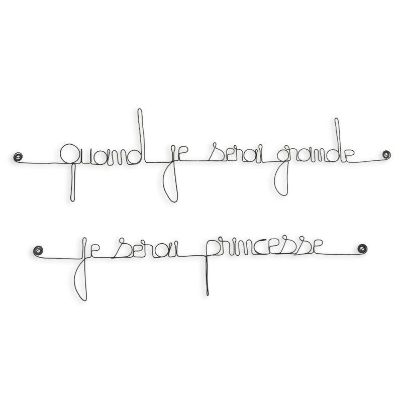 "Citation simple "" Quand je serai grande, je serai princesse "" en fil de fer - à punaiser - Bijoux de mur"