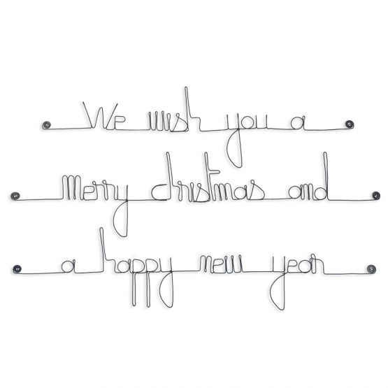 "Citation en fil de fer "" We wish you a merry christmas and a happy new year "" - à punaiser - Bijoux de mur"