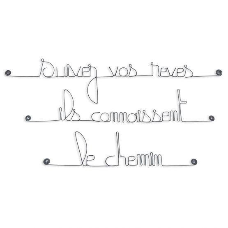 """Citation en fil de fer """" Suivez vos rêves, ils connaissent le chemin """" - à punaiser - Bijoux de mur"""