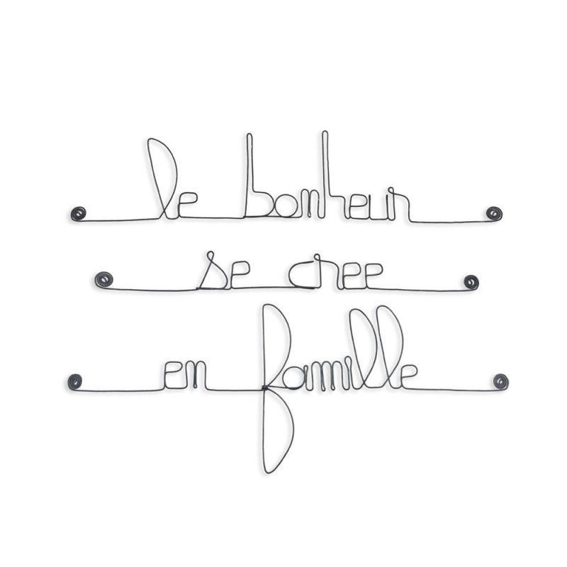 """Citation en fil de fer """" Le bonheur se crée en famille """" - à punaiser - Bijoux de mur"""