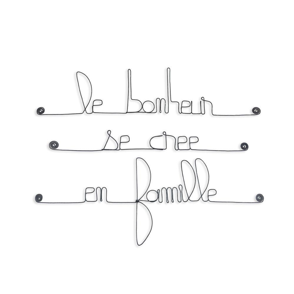 Citation En Fil De Fer Le Bonheur Se Crée En Famille à Punaiser Bijoux De Mur Bijouxdemur Com