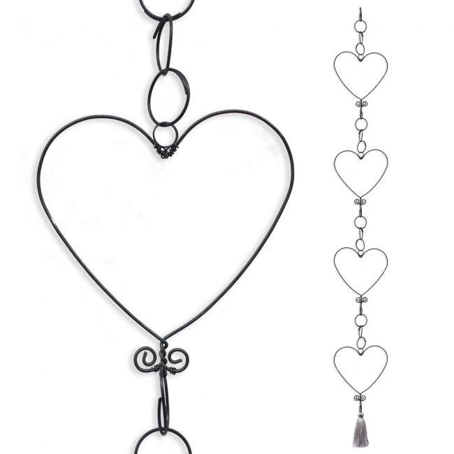 Guirlande en fil de fer - Coeur - Gris - environ 80 x 10 cm - Bijoux de mur
