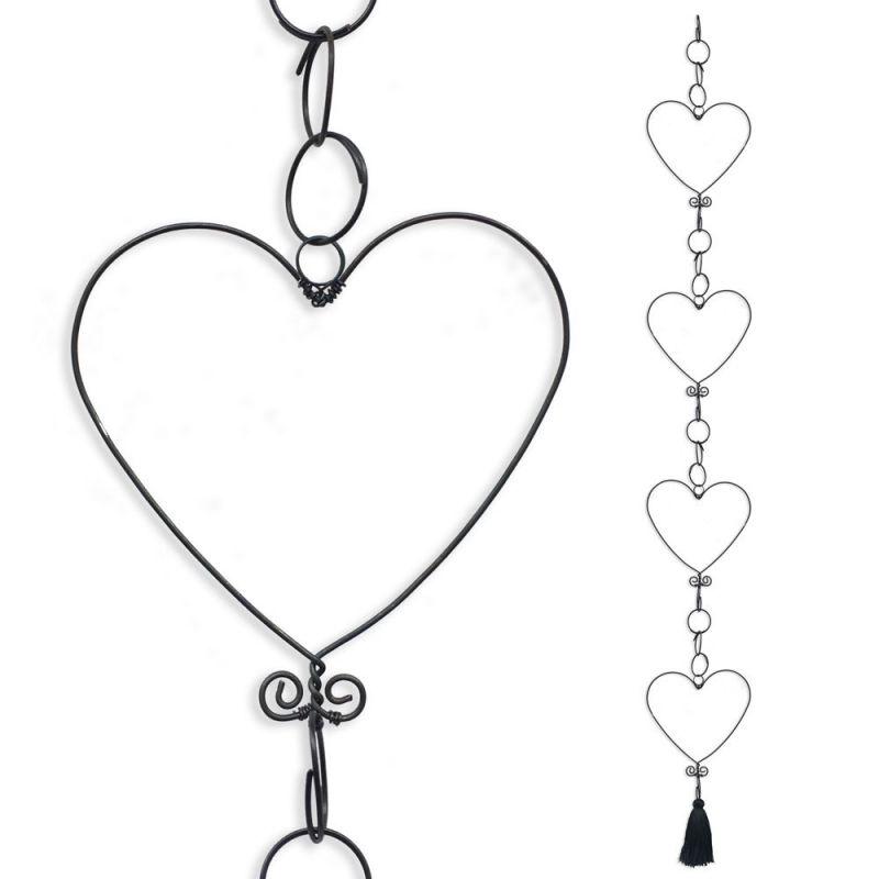 Guirlande en fil de fer - Coeur - Noir - environ 80 x 10 cm - Bijoux de mur