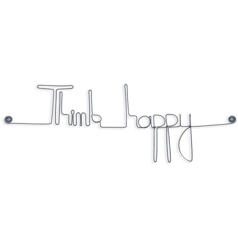 """Message simple en fil de fer """" Think happy """" - à punaiser - Bijoux de mur"""