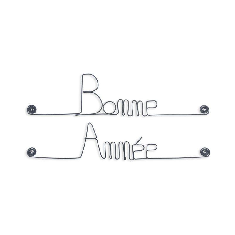 """Message simple en fil de fer """" Bonne année """" - à punaiser - Bijoux de mur"""