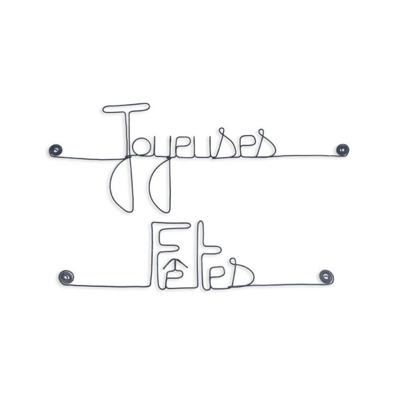 """Message simple en fil de fer """" Joyeuses fêtes """" - à punaiser - Bijoux de mur"""