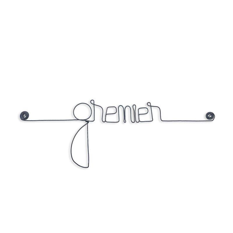"""Message simple en fil de fer """" Grenier """" - à punaiser - Bijoux de mur"""